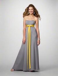 grey dress with yellow ribbon bridesmaid dress | Wedding ...