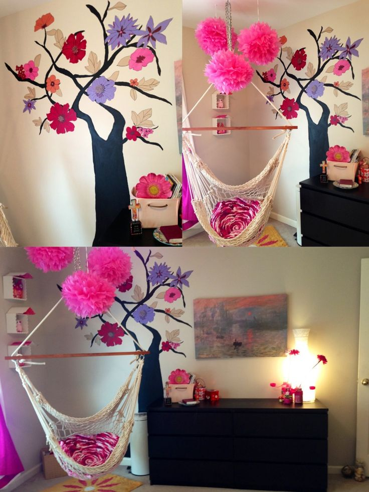 Tween girls roomIkea furniture with painted tree and hanging hammock chair Theme was French