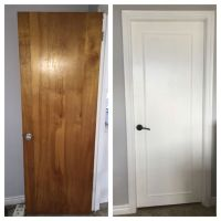 Updated old wood doors to a modern look with wood trim ...