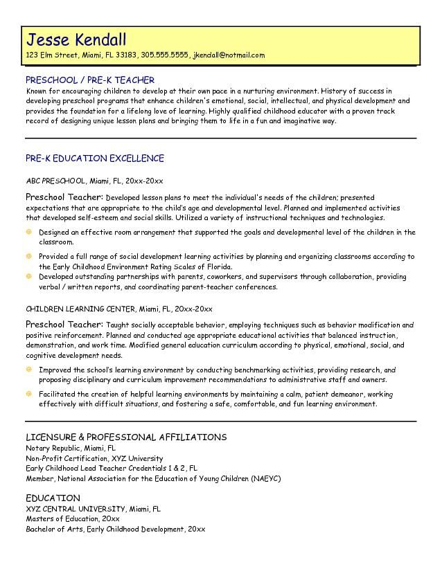 Preschool Teacher Sample Resume Teacher Resume Sample Page 1