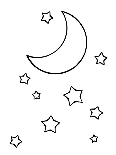 A line drawing of the moon and stars from the nursery
