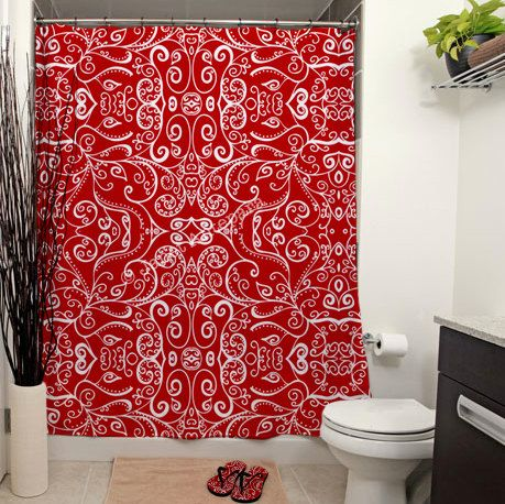 The 25 Best Ideas About Red Shower Curtains On Pinterest