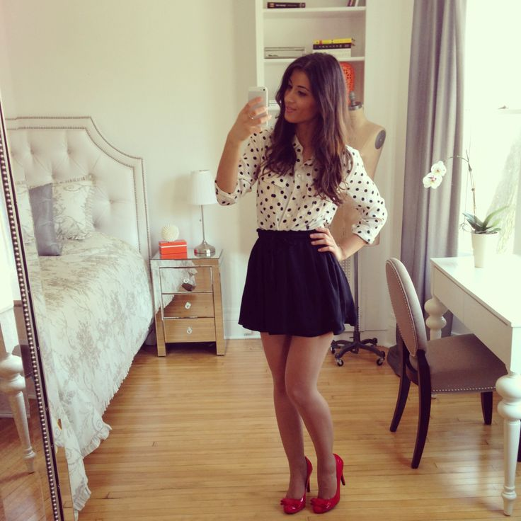Mimi Ikonn Sexy Outfit Red Heels Black Skirt And Polka