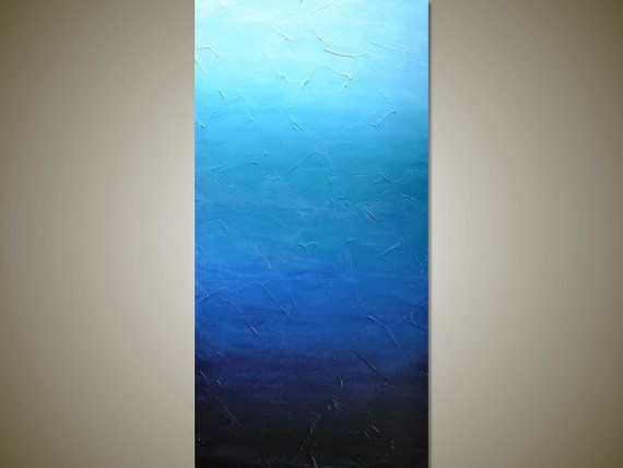 Large BLUE OMBRE Textured Abstract Painting