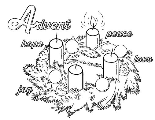 Printable Advent coloring page. Free PDF download at http