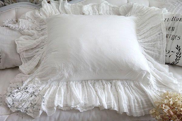 Beautiful White Cotton 24 Gauze Ruffle Around Button Pillow Sham  Linen Love  Pinterest
