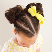little girl double messy buns