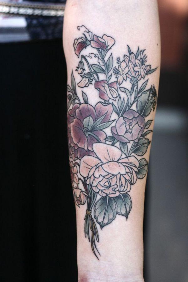 1000 flower shoulder arm
