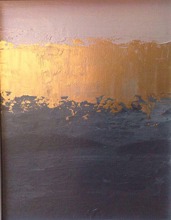 On Sale Abstract Painting 11x14 Pink Gold And Grey Color