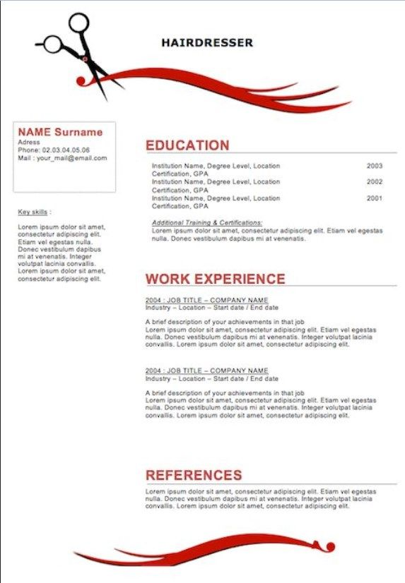 Free Resume Examples For Cosmetologist Resume Template