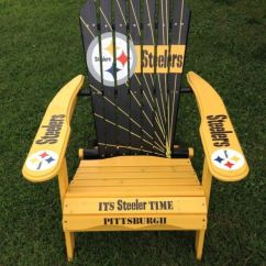 Folding Chair For Living Room Recliner Vs With Ottoman Details About Hand Painted Pittsburgh Steeler Adirondack Nfl Football Tailgating ...
