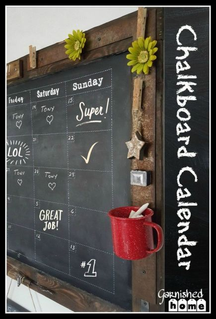 This is such an easy DIY Chalkboard Calendar tutorial! I'll show you what I picked out of my junk pile to give my creation that extra junky feel!: