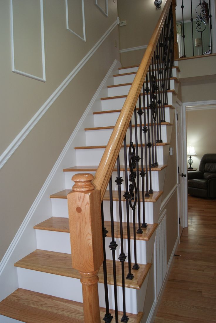 Red Oak Stair Treads with Red Oak  Iron Stair System  Stair Systems  Pinterest  Oak stairs