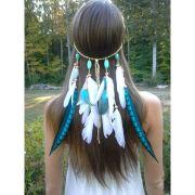 turquoise princess - feather headband