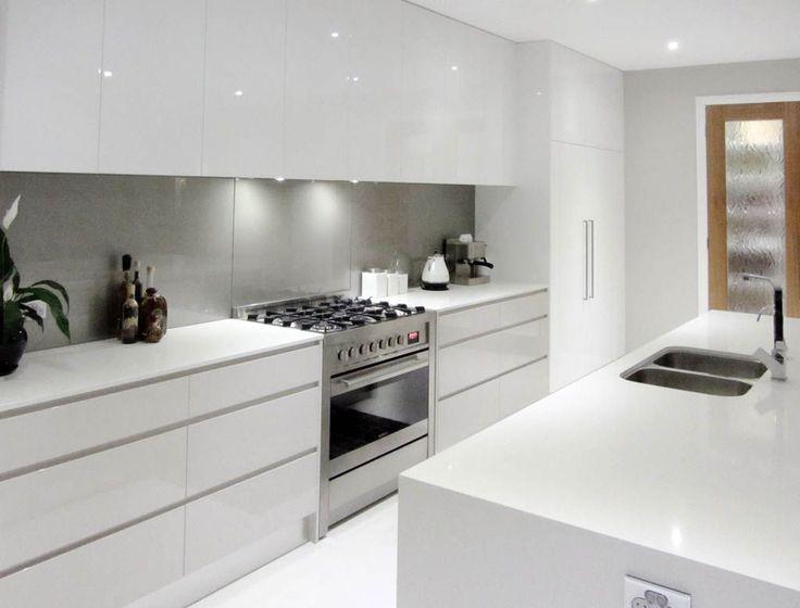 gray kitchen mat design online white cupboards, no handles, light grey splashback, all in ...