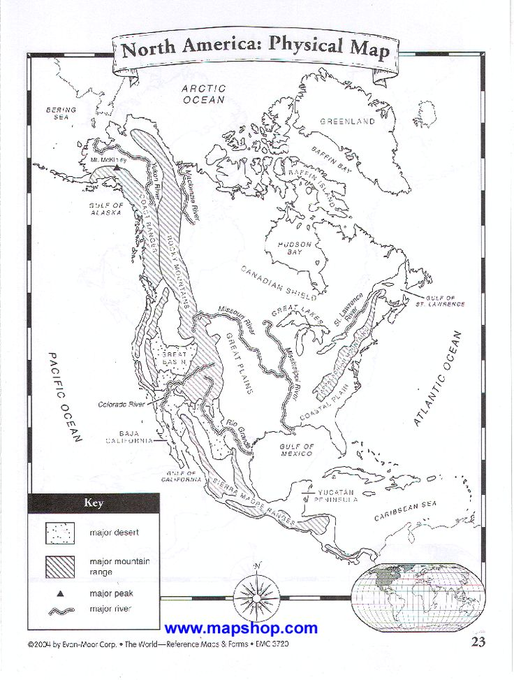 Physical map of North America (add major cities to show
