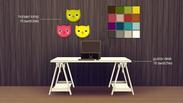 Femme Jean Set  desk and a cute wall lamp  Sims 4