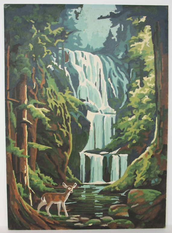 Water Fall Paint By Number Oil Painting By