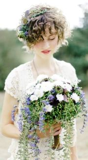 boho bride's curly bridal hair