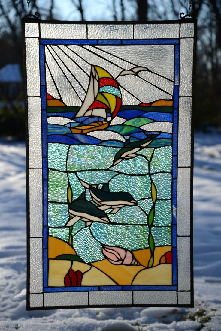 1000 Images About Stained Glass Nautical On Pinterest Dolphins Mosaics And Mosaic Projects