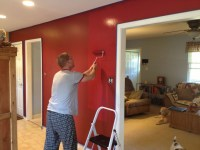 Cabin red accent walls in kitchen/dining room | Decorating ...