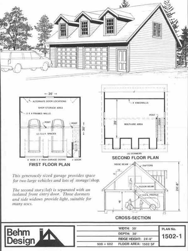 Over-sized Two Car Garage With Loft Plans 1502-1 30' x 30