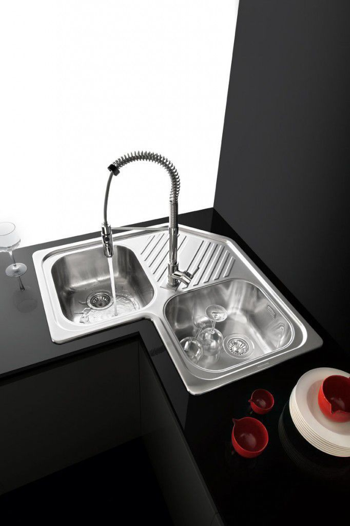 2 Bowl Kitchen Sink Stainless Steel Corner With