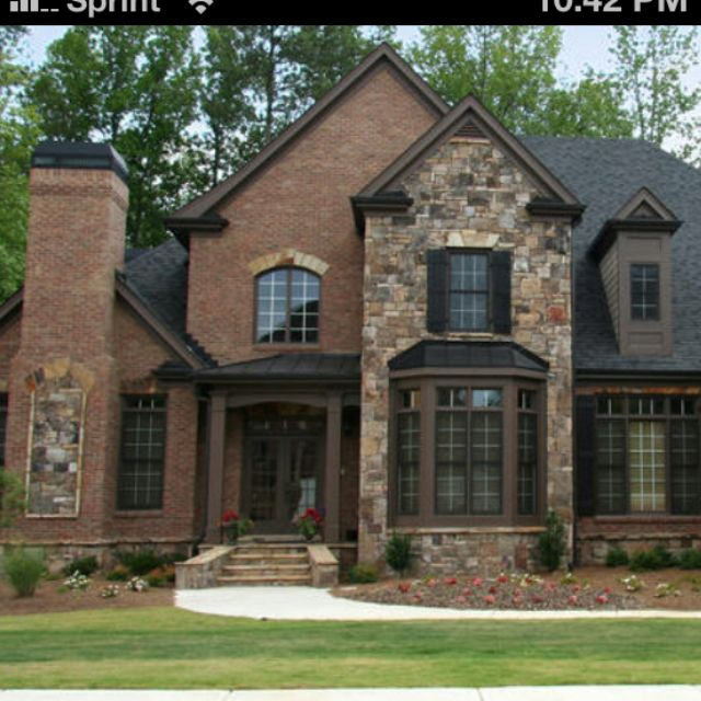 Brick and stone exterior PERFECT  house  Pinterest  Entryway Window and Black trim