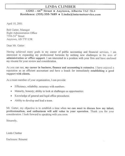 Great Resume Cover Letter Examples
