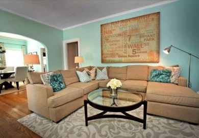 Teal And Tan Living Room