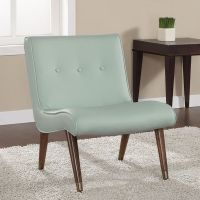 Mid-century Aqua Bonded Armless Chair by I Love Living ...