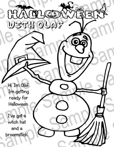 Printable Olaf Frozen Halloween Coloring Sheet by