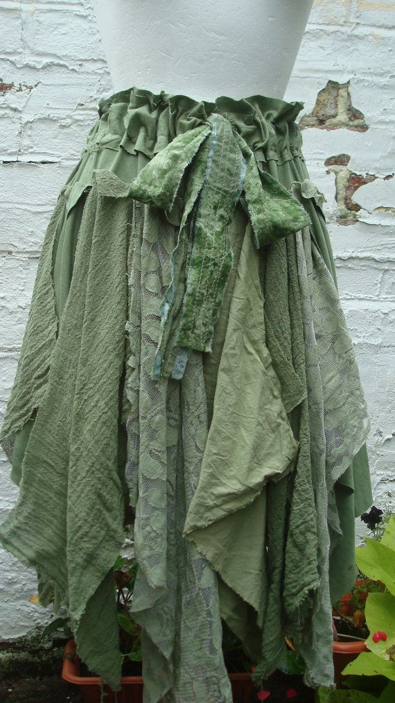 Tattered Upcycled Fairy Skirt Womans Clothing Shades of Green Olive Tribal Cotton Layers Mori