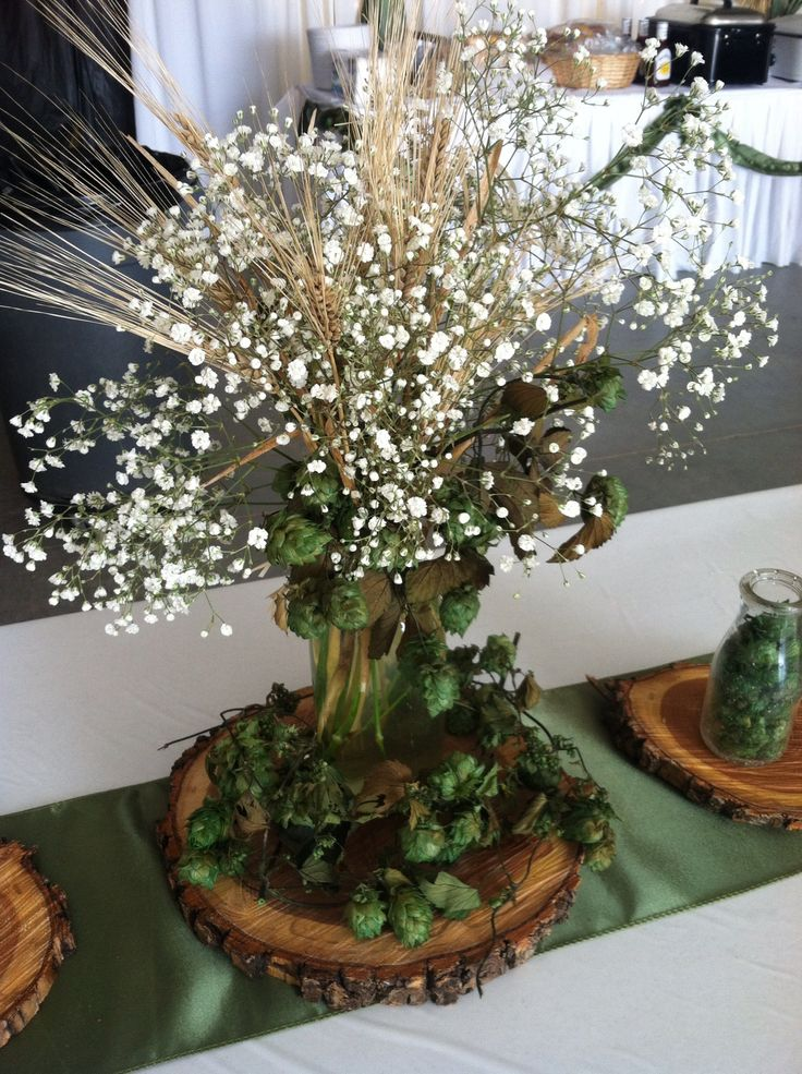 Hops and barley centerpiece by Exquisite Events Bismarck
