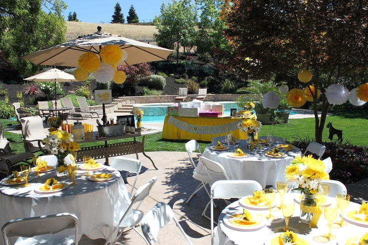 Outdoor Bridal Shower - Yellow And White Theme