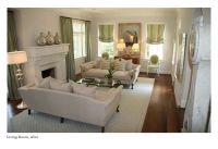 nice furniture arrangement for long, narrow room w