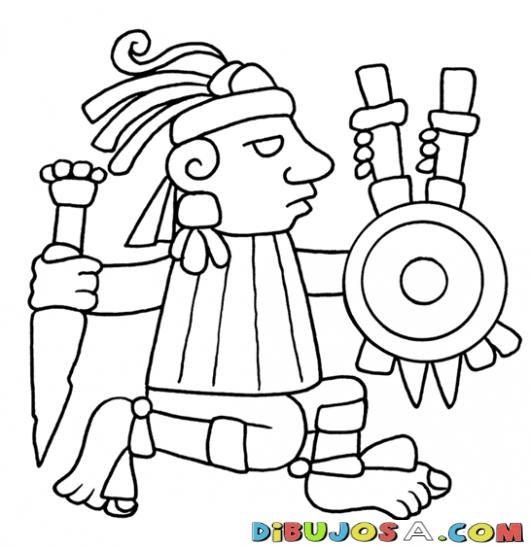 Dibujo De Guerrero Azteca Para Colorear