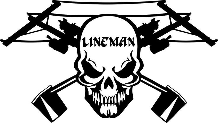 Details about Lineman Skull Electrician Power Worker Car