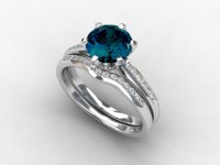 engagement ring set, London blue topaz, Diamond band ...