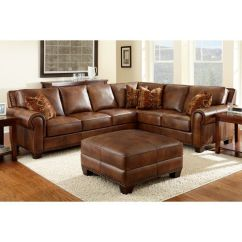 Closeout Living Room Furniture For Small Helena Leather Sectional And Ottoman | ...