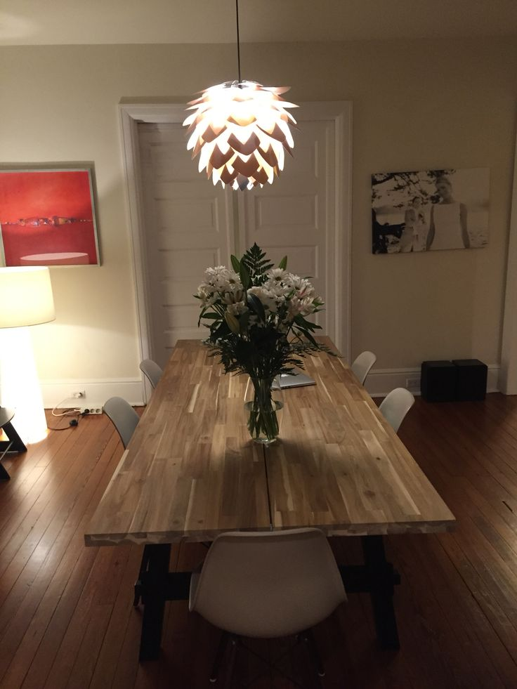 ikea chairs dining your zone flip chair instructions skogsta table with beige eames reproductions   interieur pinterest eames, ...