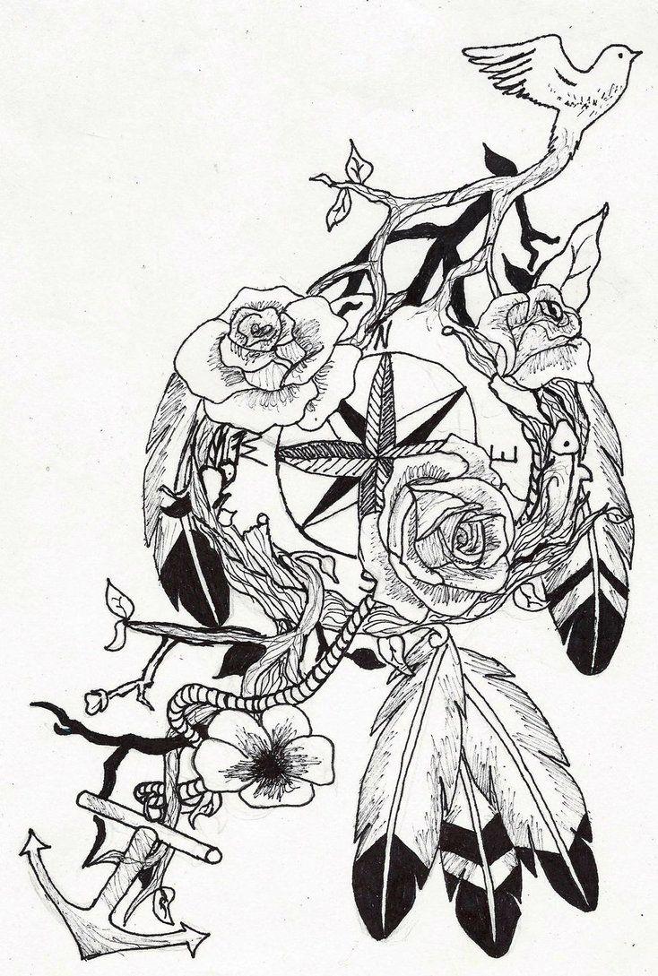 compass dream catcher tattoo by ~wolfluv95 on deviantART