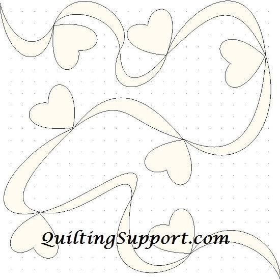 Free Quilting Pattern: Ribbon Hearts Line Quilting
