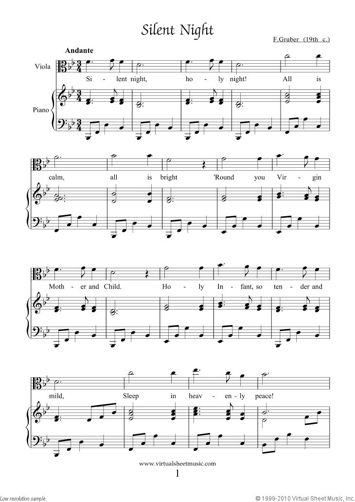 Easy viola violin and cello silent night music sheet