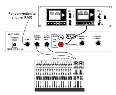 RA53 Stereo Headphone Amplifier Connection Schematic