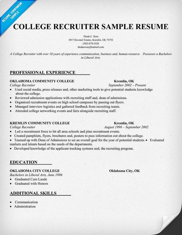 College Recruiter Resume Sample Resumecompanion