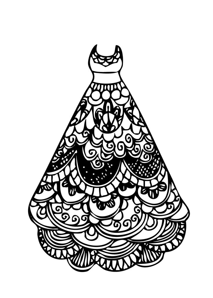 Dress lace coloring page for girls, printable free