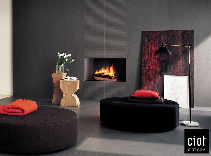 corner tv living room ideas wall shelves on the wall: basaltina slimtech tiles by lea au mur ...