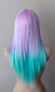 pastel lavender blue color wig. straight hair long