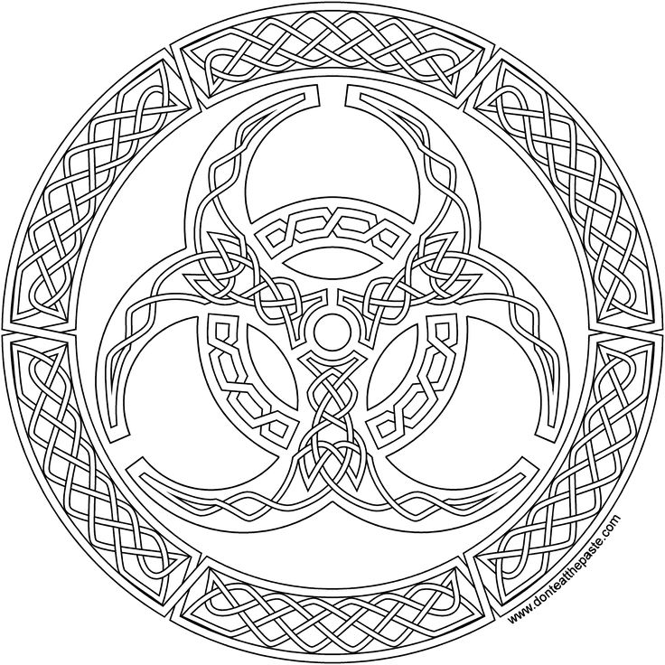 A biohazard symbol in knotwork to print and color in jpg